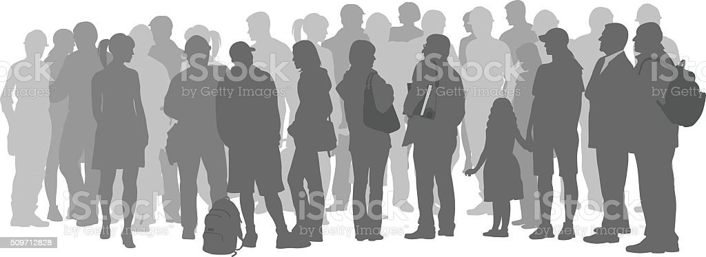 Crowd Of Grey Silhouette People vector art illustration