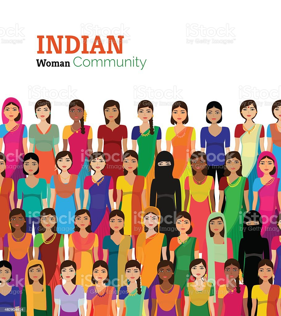 Crowd of Indian women vector avatars vector art illustration