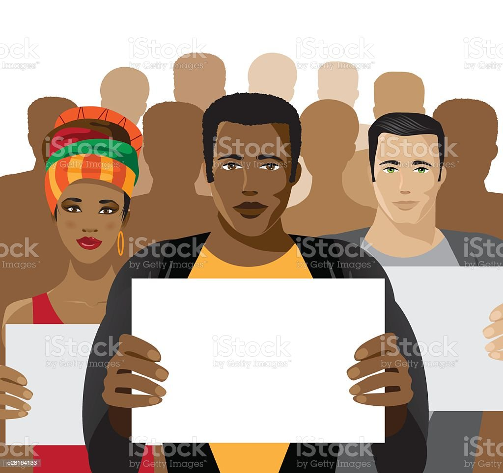 Crowd of people holding signs vector art illustration