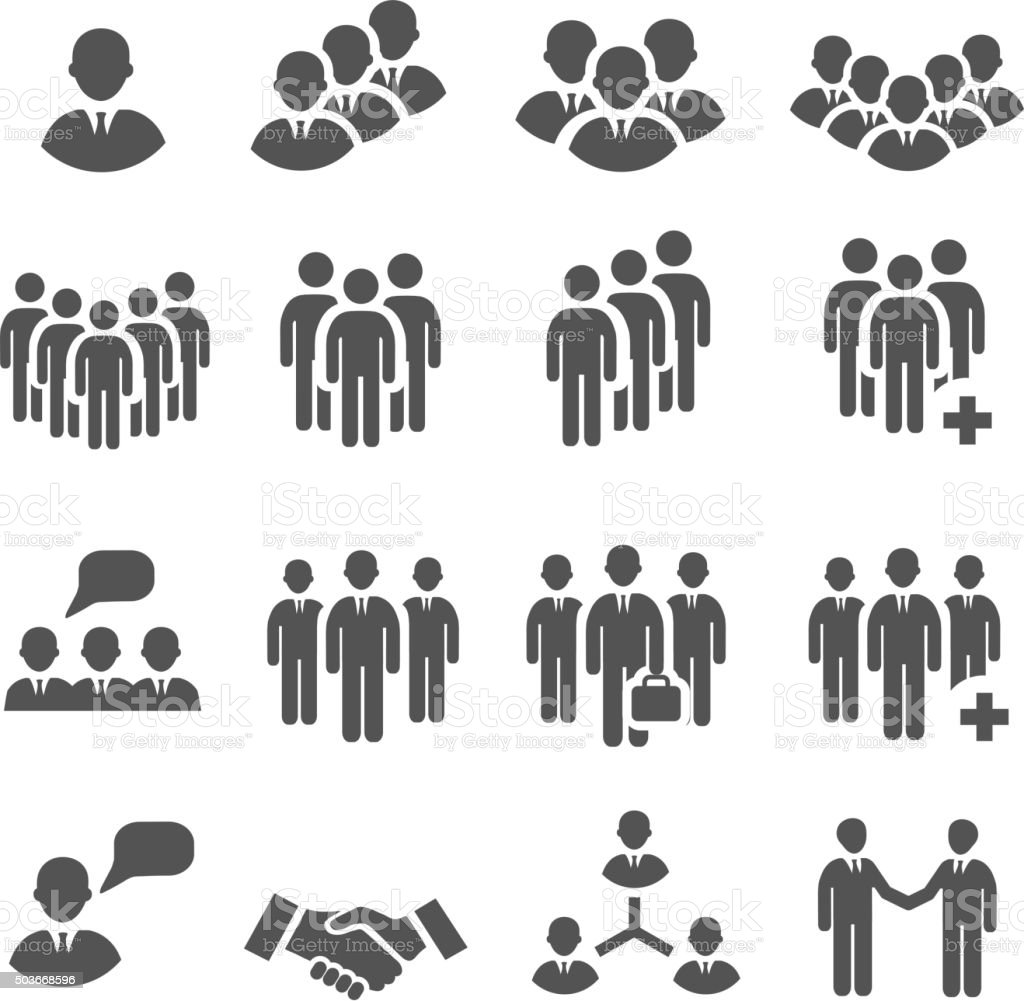 Crowd Of People In Team Icon Silhouettes stock vector art ...