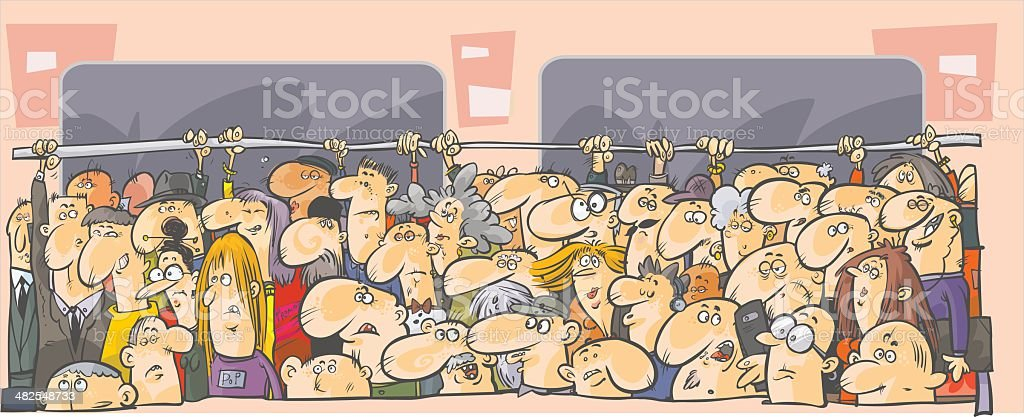 Crowd of people in the public transport. vector art illustration