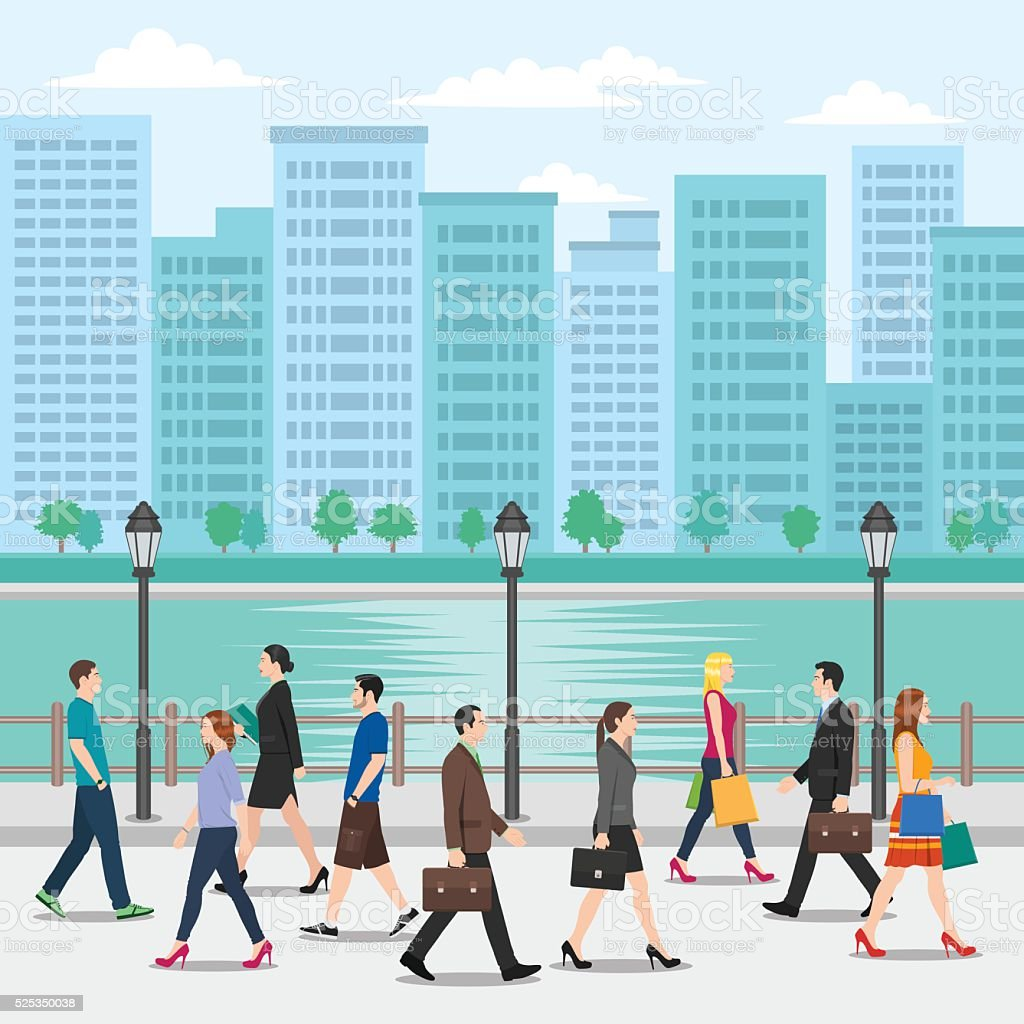 Crowd of People Walking on the Street with Cityscape Background vector art illustration