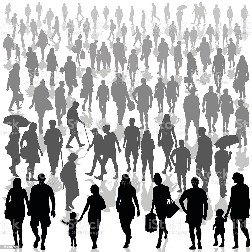 Crowd of people walking vector art illustration