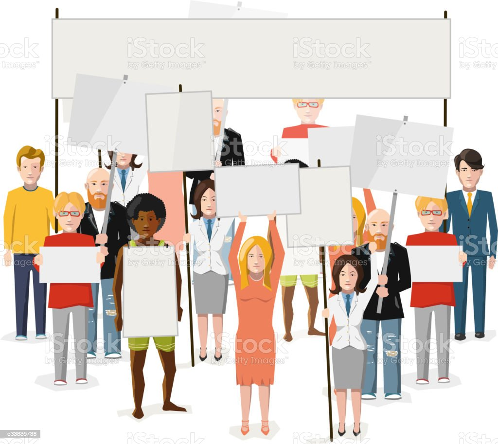 Crowd of people with empty posters, flat illustration on white vector art illustration