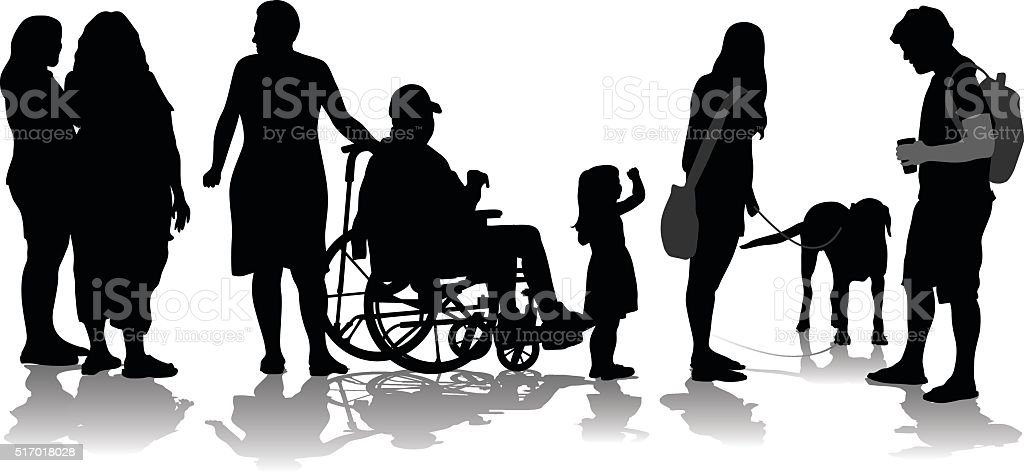 Crowd Of Silhouette People vector art illustration