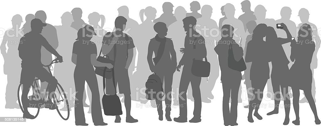 Crowd Of Students In Grey Silhouettes vector art illustration