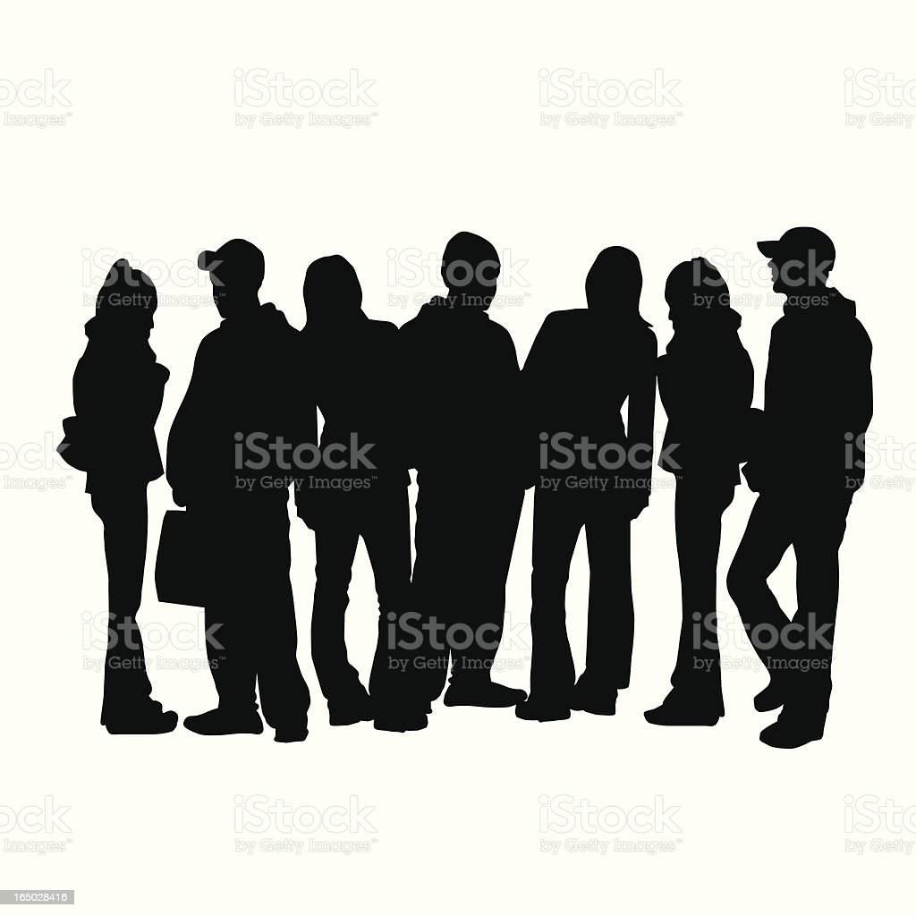 Crowd of Young Adults Vector Silhouette vector art illustration