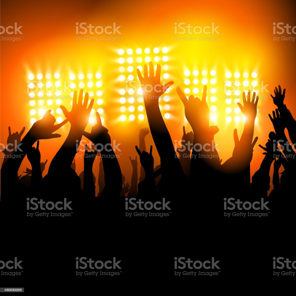 Crowd raising hands and cheering at concert at night royalty-free stock vector art