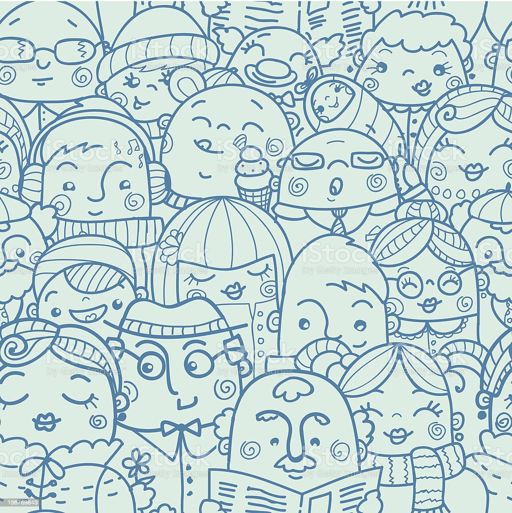 Crowd seamless pattern royalty-free stock vector art