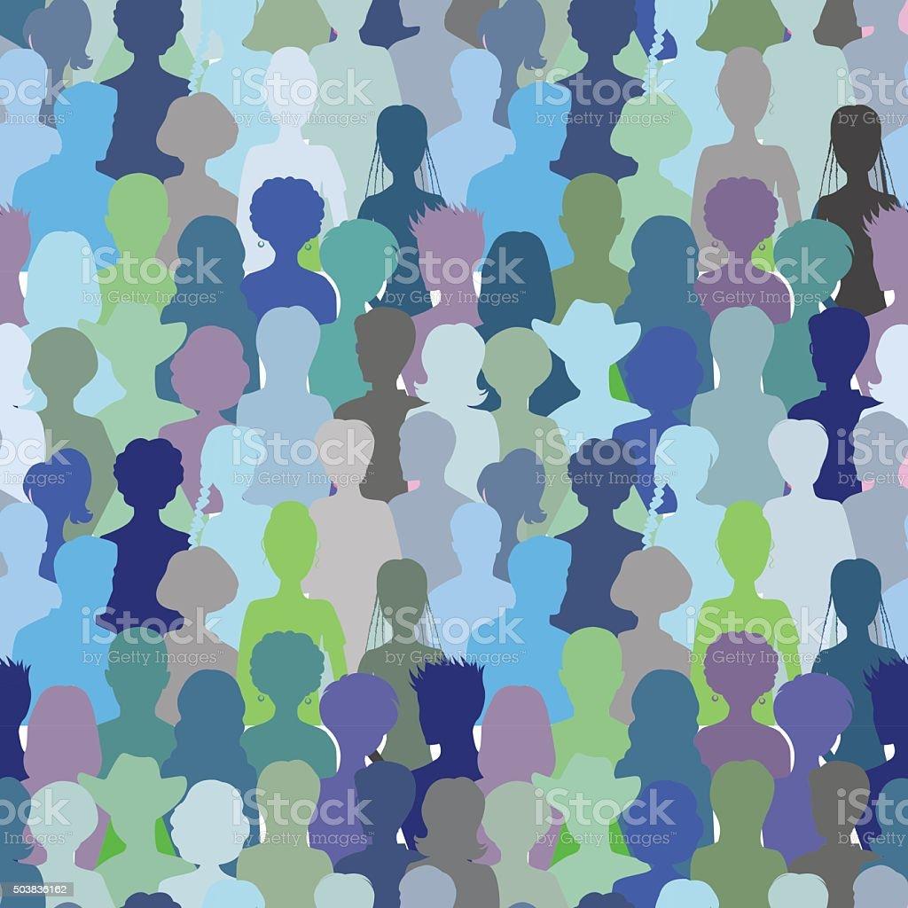 Crowd- seamless pattern, vector art illustration