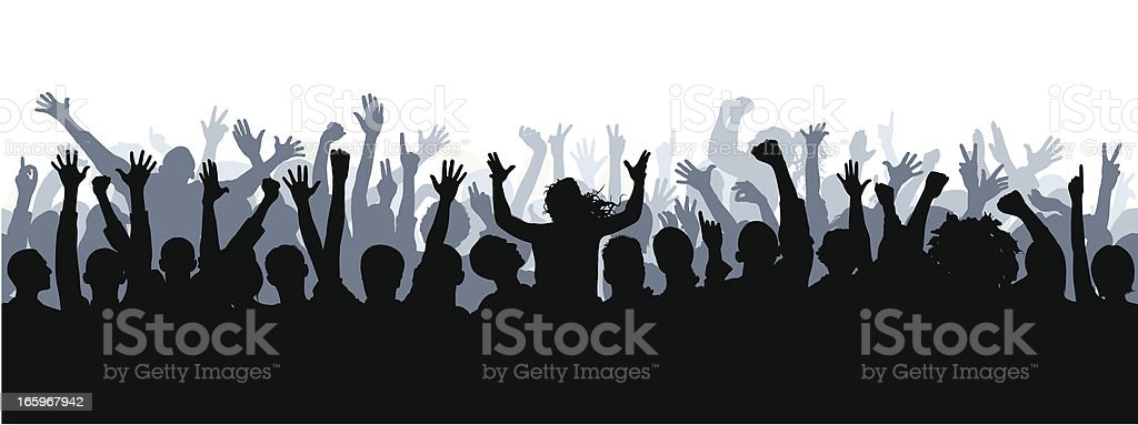 Crowd (72 Complete People- Clipping Path Hides the Legs), Seamless vector art illustration
