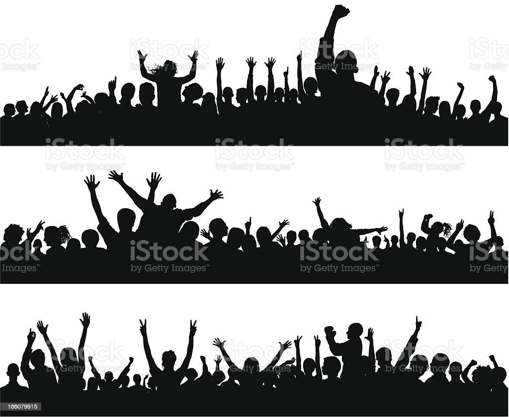 Crowd (86 Complete People- Clipping Path Hides the Legs), Seamless royalty-free stock vector art