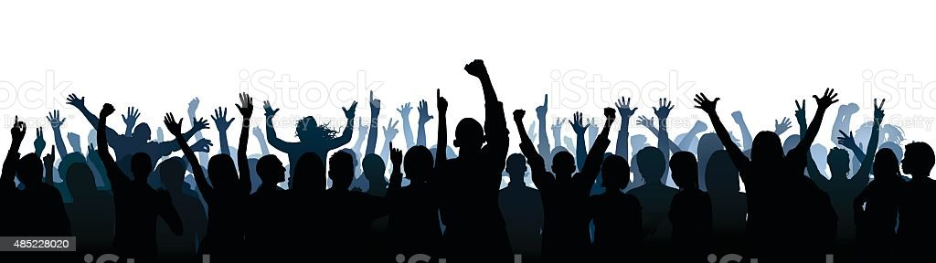 Crowd (60 Complete People- Clipping Path Hides the Legs), Seamless vector art illustration