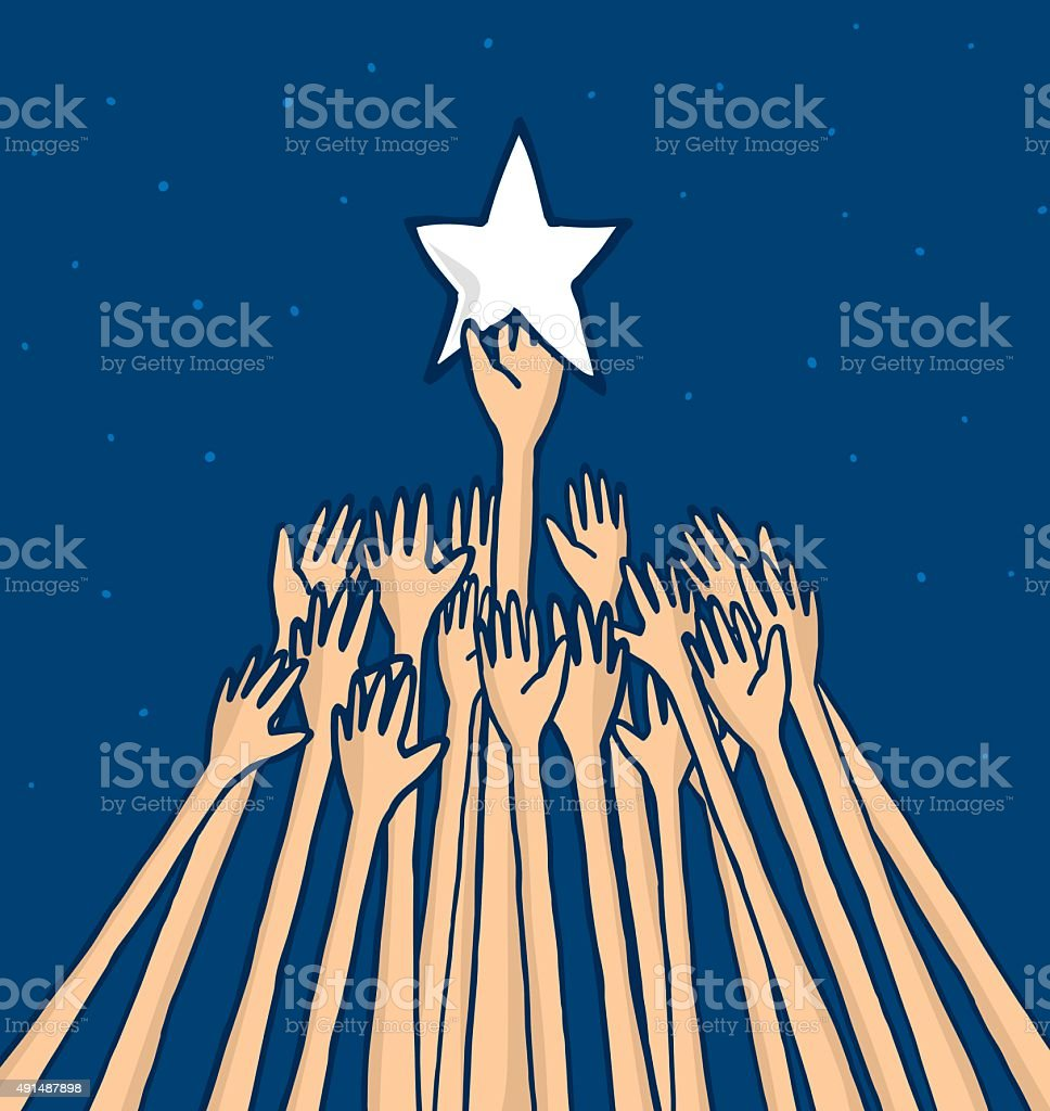 Crowd struggling to catch a star or reaching a dream vector art illustration