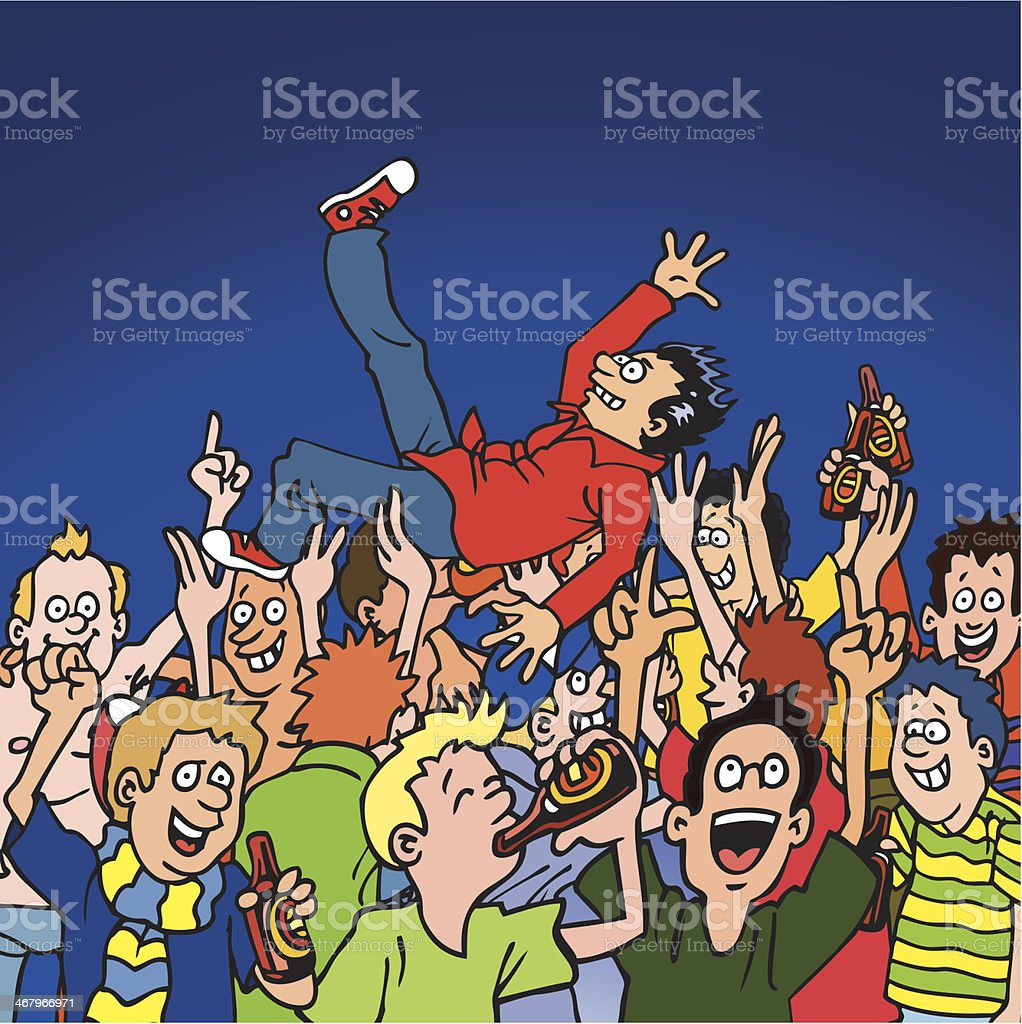 Crowd Surfer vector art illustration