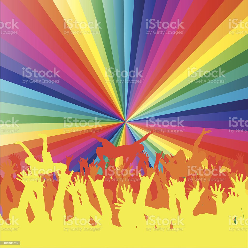 Crowd Surfing vector art illustration