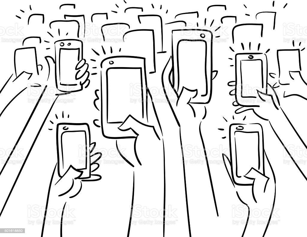 Crowd taking photos vector art illustration