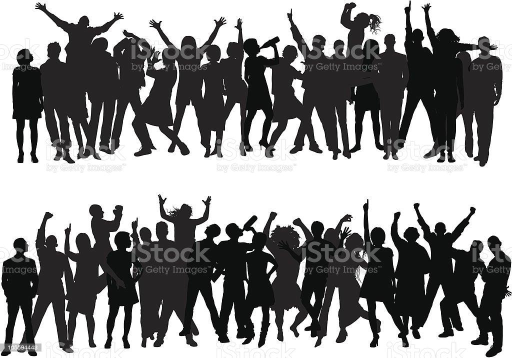 Crowd (43 Complete, Moveable, Detailed People) vector art illustration