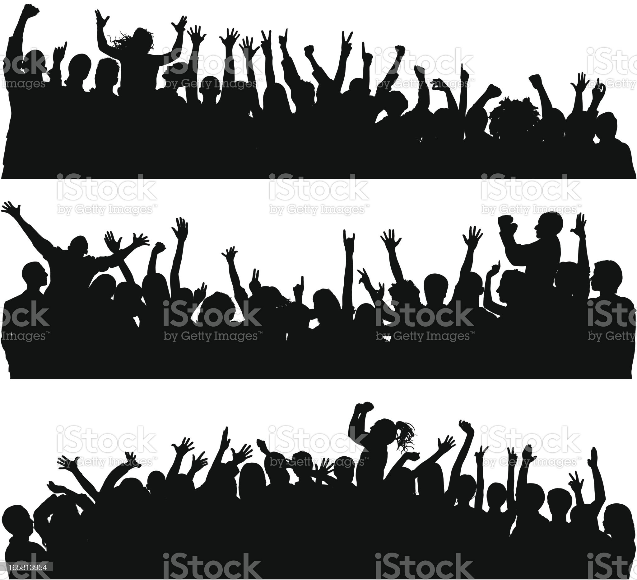 Crowd (Over Seventy Complete Silhouettes- Clipping Path Hides the Legs) royalty-free stock vector art
