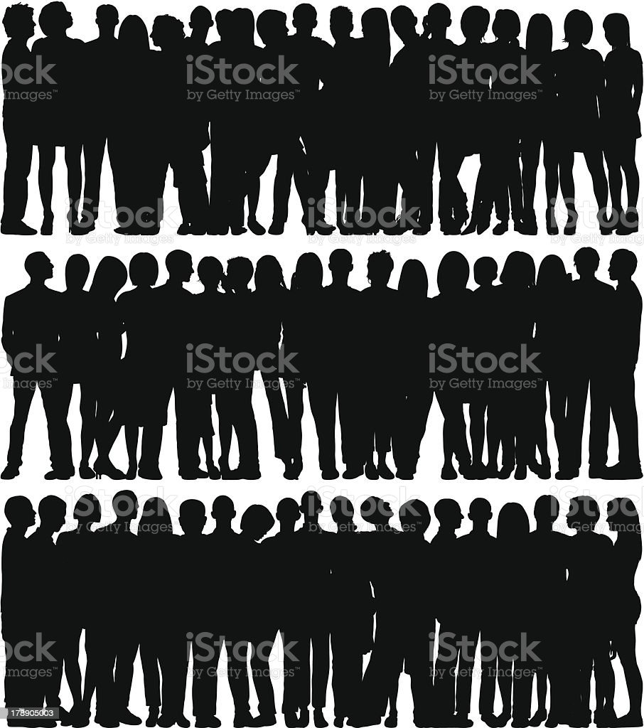 Crowd (66 Complete, Moveable People) vector art illustration