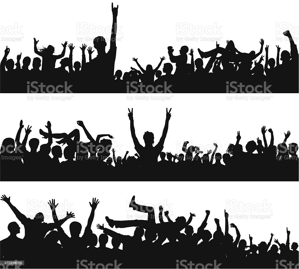 Crowd (88 Complete, Detailed People- Clipping Path Hides the Legs) royalty-free stock vector art