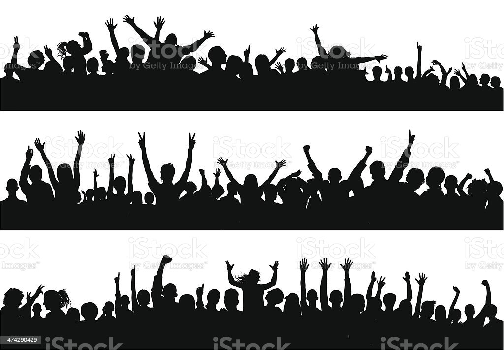 Crowd (86 Complete People- Clipping Path Hides the Legs) vector art illustration