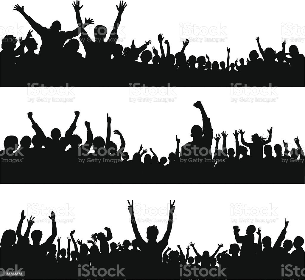 Crowd (80 Silhouettes, People Are Complete Down to the Waste) vector art illustration