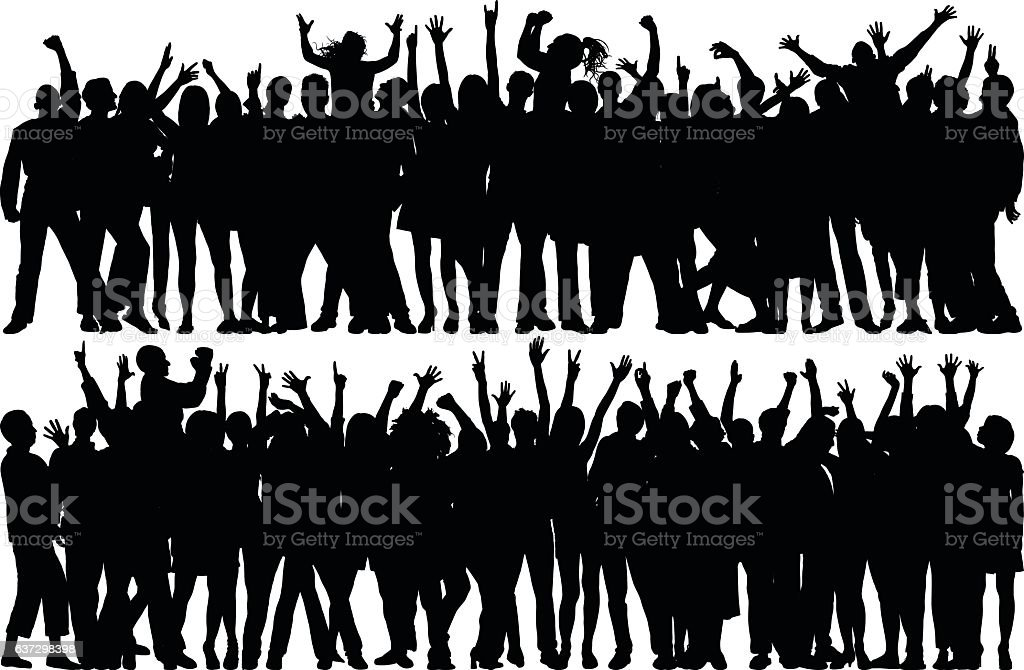 Crowd (All Complete, Moveable, Detailed People) vector art illustration