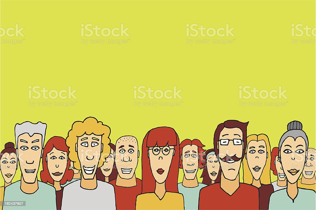 Crowd with copyspace / Happy people together vector art illustration