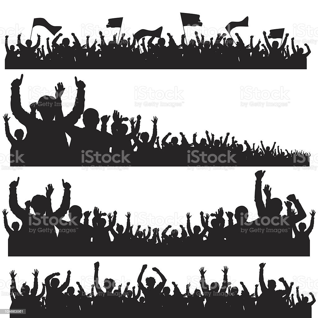 Crowd with Flags vector art illustration