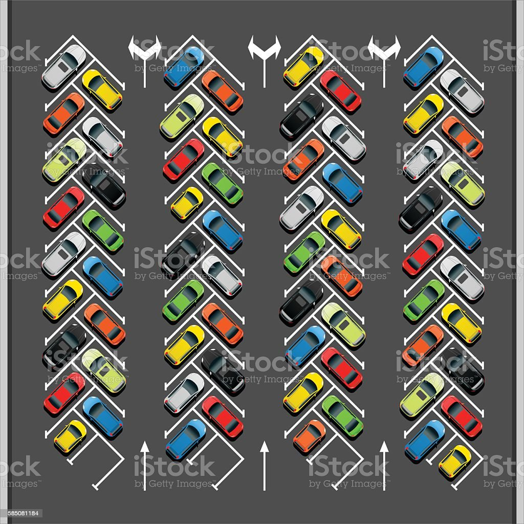 Crowded 45 Degree Parking Lot vector art illustration