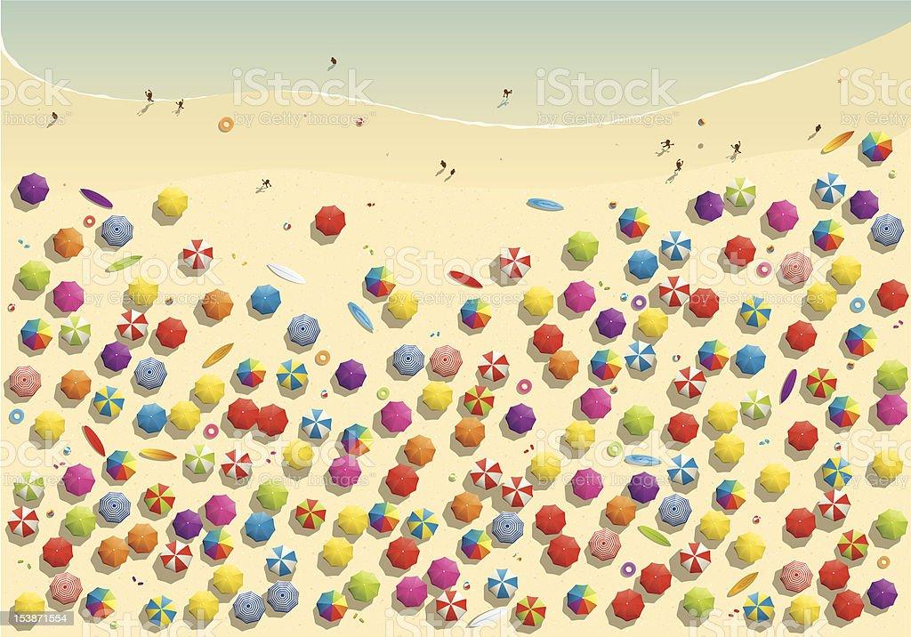 Crowded beach vector art illustration