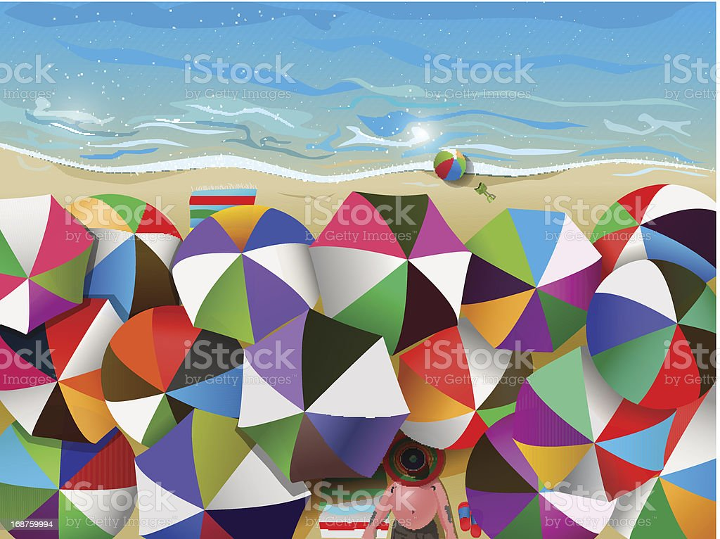 crowded beach royalty-free stock vector art