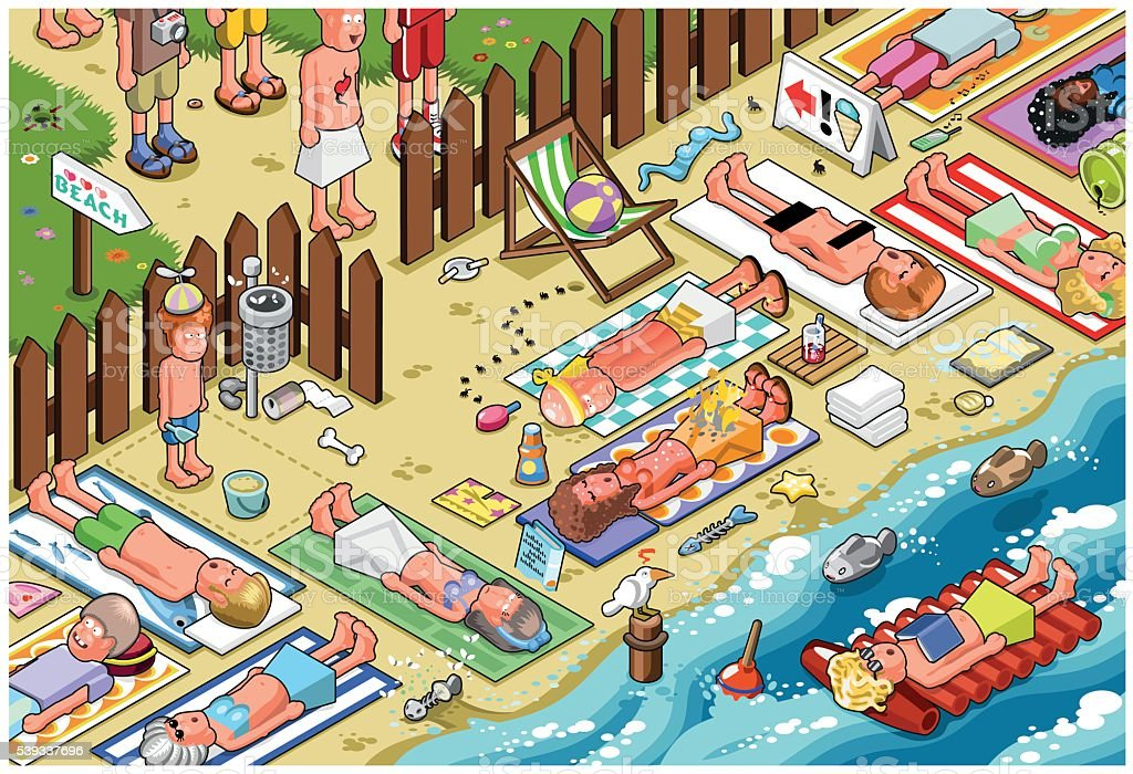 Crowded beach vector art illustration