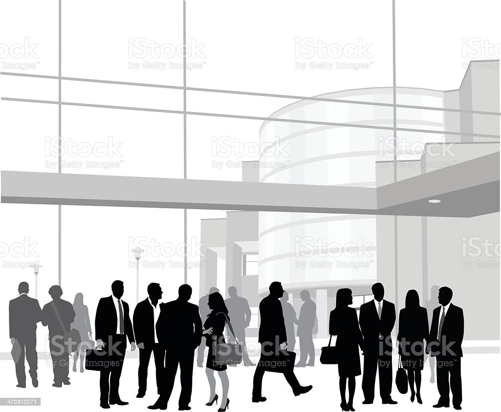 Crowded Business vector art illustration