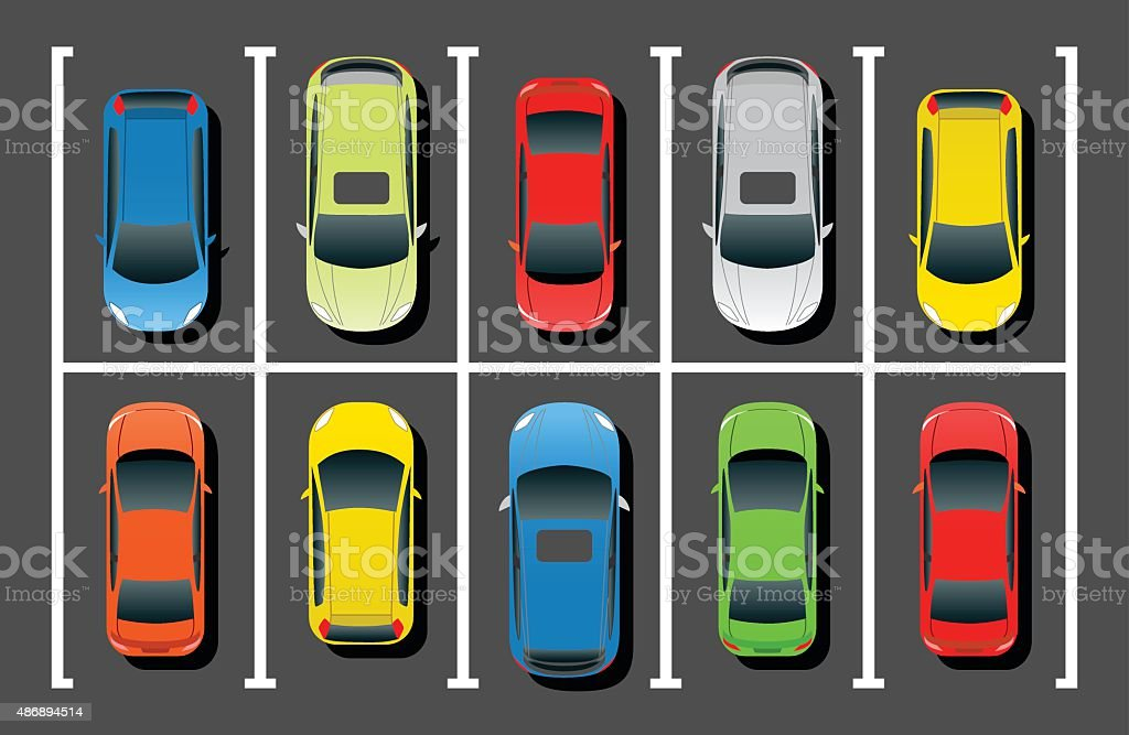 Crowded Car Parking vector art illustration
