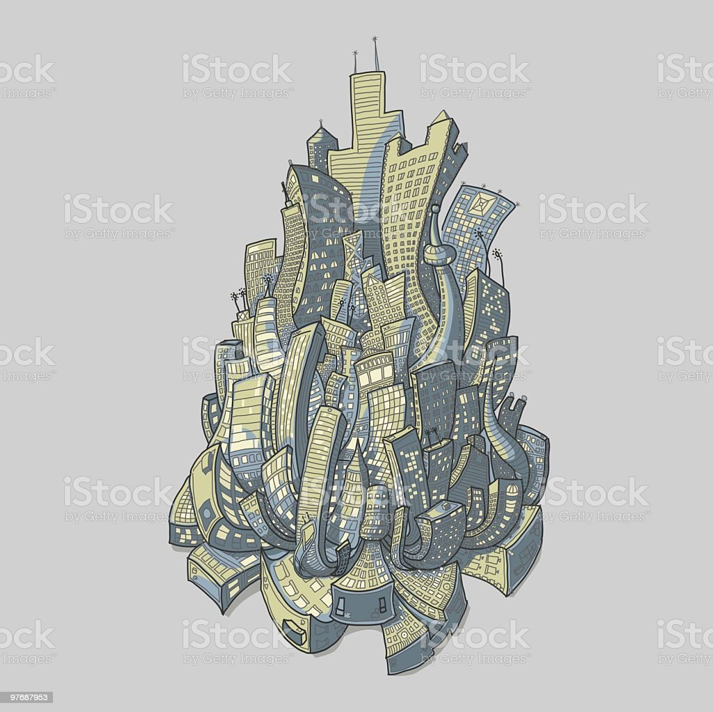 Crowded city royalty-free stock vector art