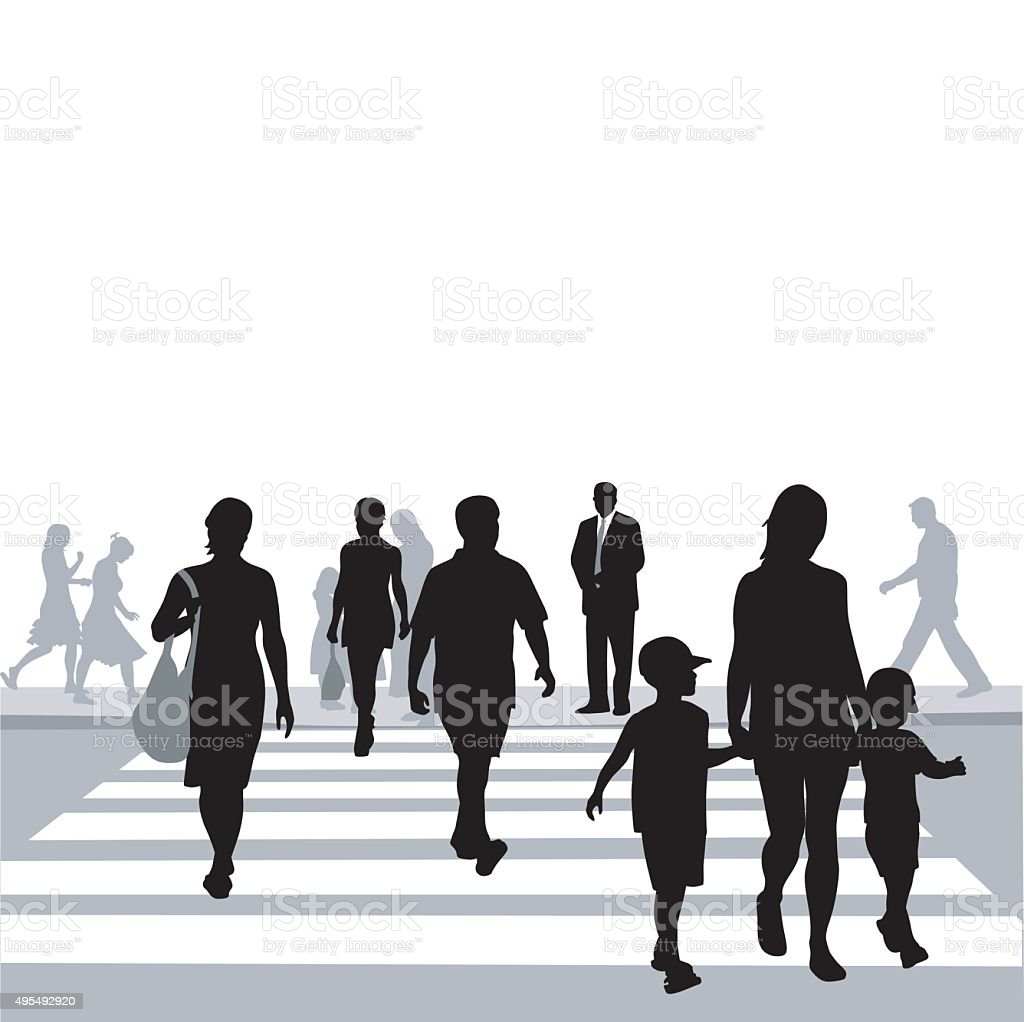 Crowded Crosswalk vector art illustration