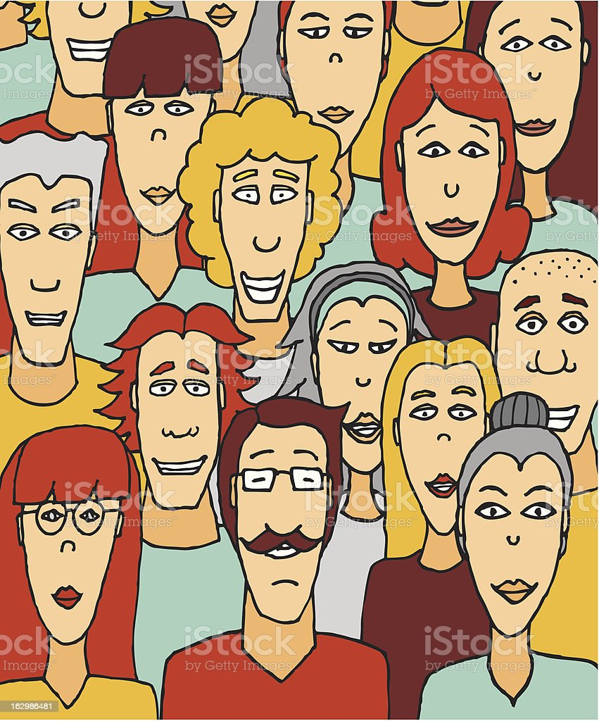 Crowded people / Colorful crowd vector art illustration