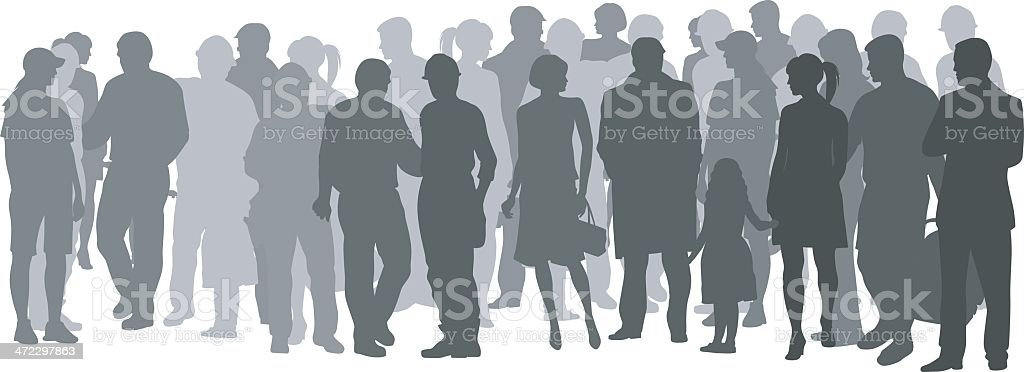 Crowded Place vector art illustration