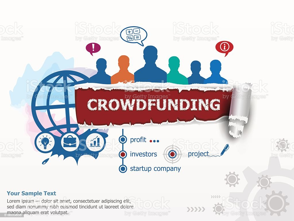 Crowdfunding concept and group of people. vector art illustration