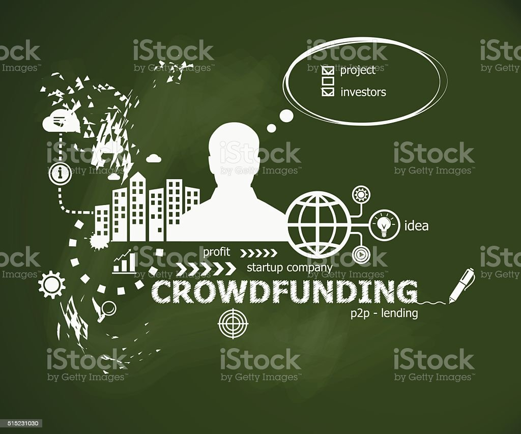 Crowdfunding concept and man. Typographic poster. vector art illustration