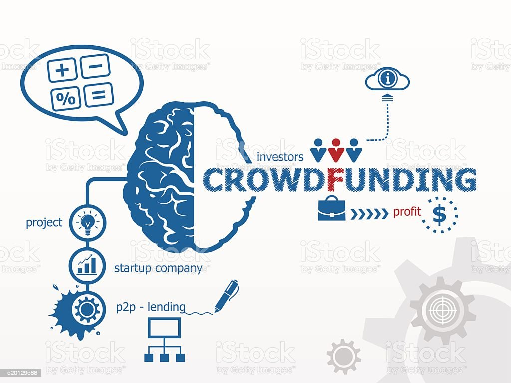 Crowdfunding concept. vector art illustration