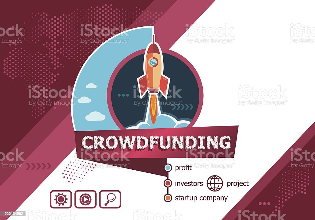 Crowdfunding concepts for business analysis, planning, vector art illustration