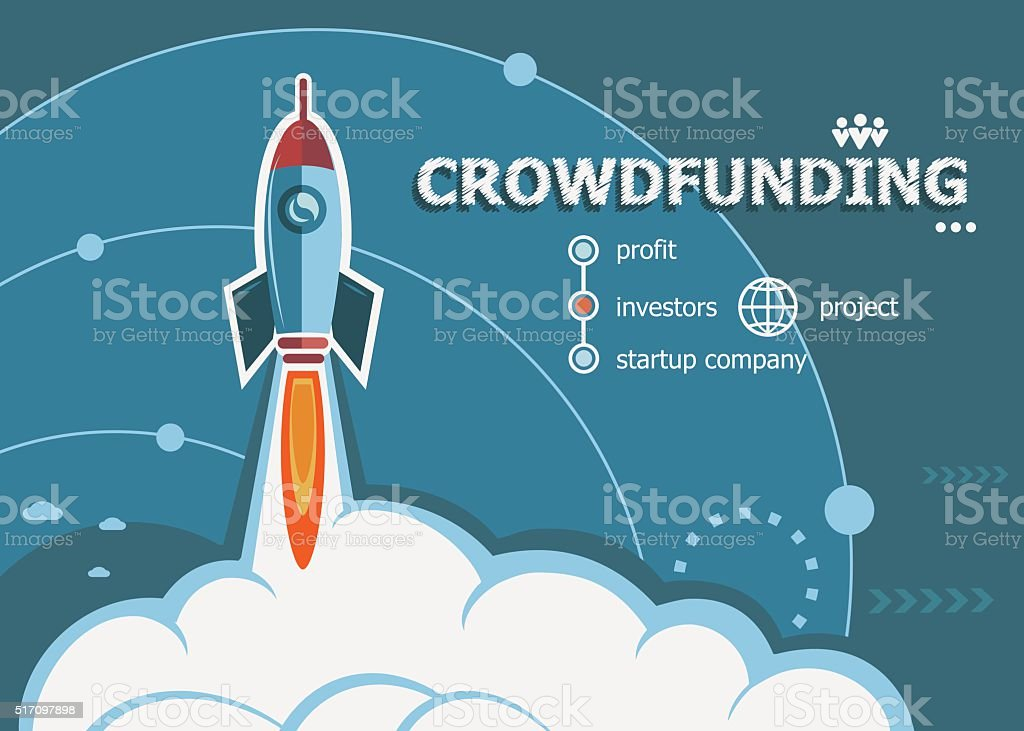 Crowdfunding design and concept background with rocket. vector art illustration