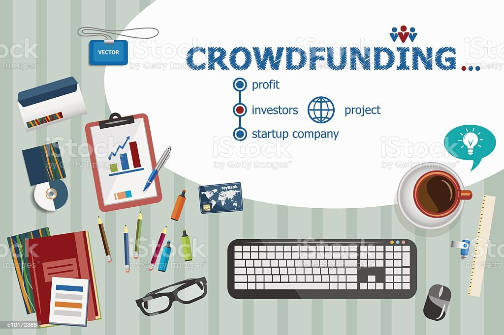 Crowdfunding design and flat design illustration concepts for bu vector art illustration