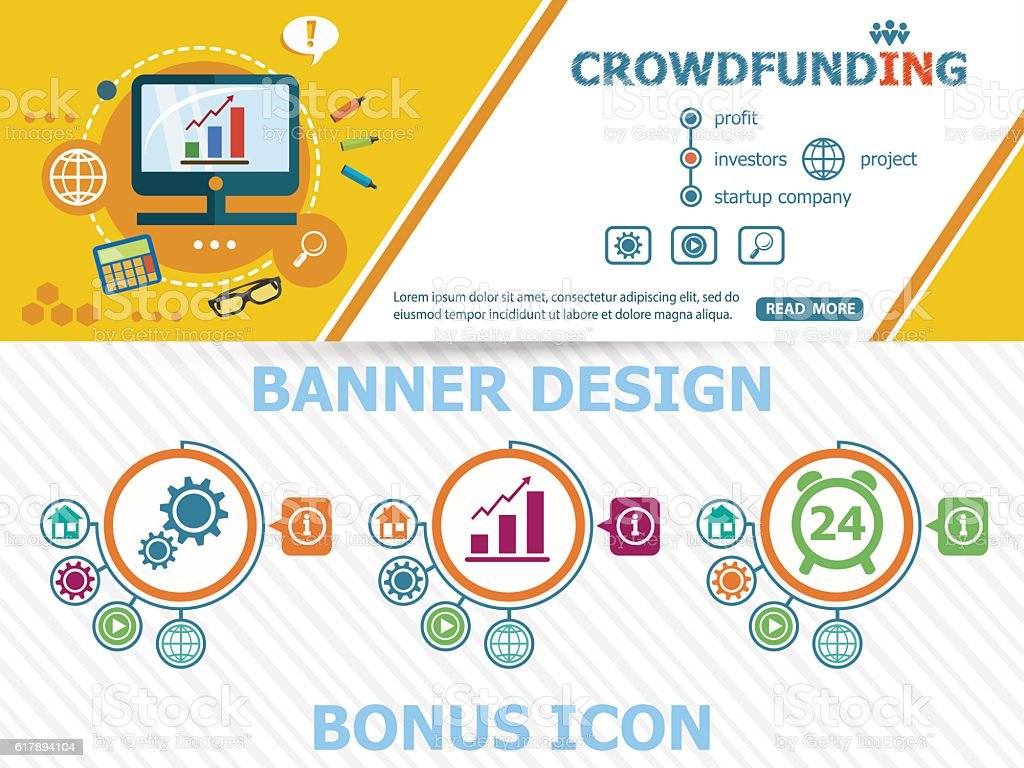 Crowdfunding design concepts and abstract cover header vector art illustration