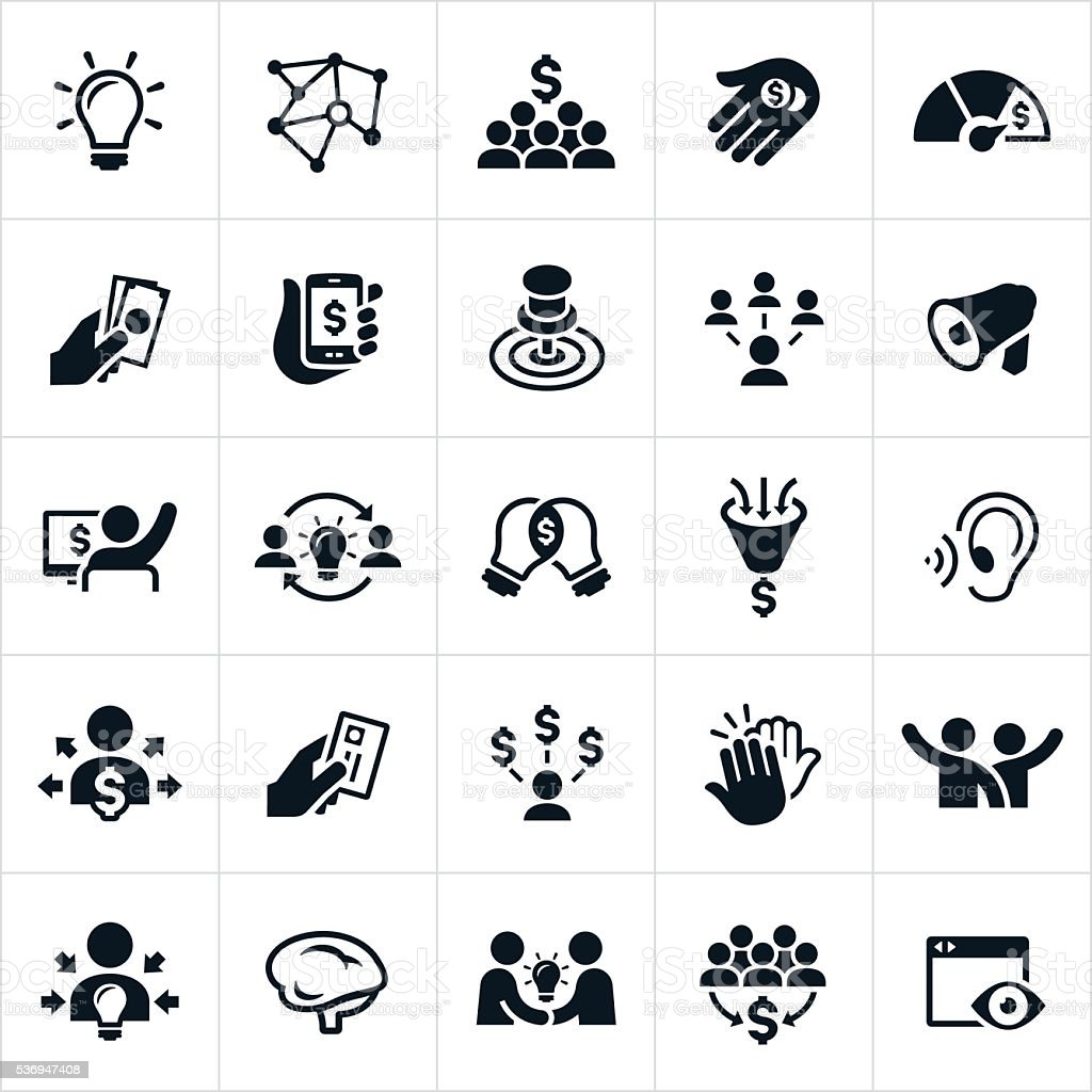 Crowdfunding Icons vector art illustration