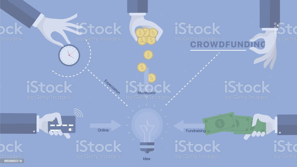 Crowdfunding process background. vector art illustration