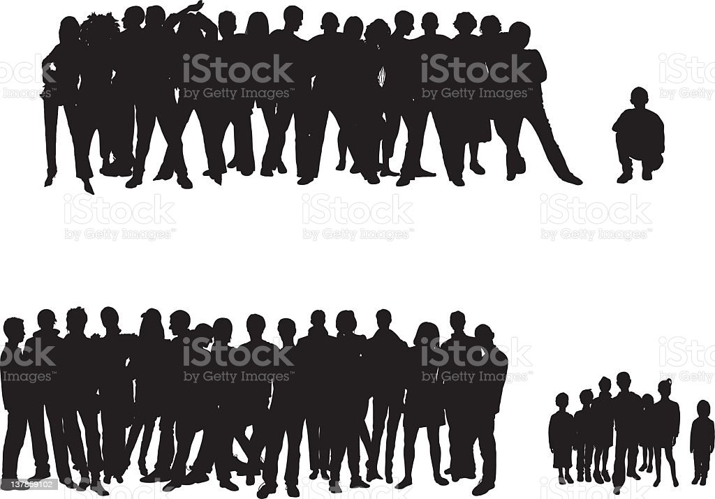 Crowds vector art illustration